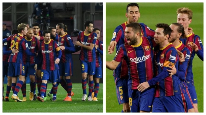 Messi dhe shokët e tij të skuadrës festojnë