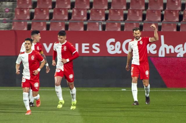 Stuani, celebrating his goal against Zaragoza in Montilivi this season