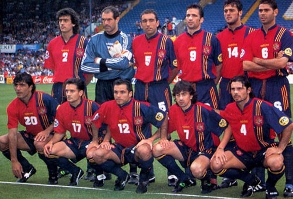 The Spanish team during the 1996 Euro Cup.