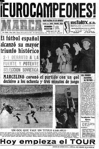 Cover of the Diario MARCA after the victory of Spain in 1964