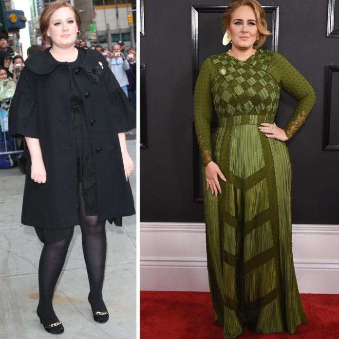 Adele to the left in a photo from 2009 and right at the Grammy Awards of 2017, which already warns its p