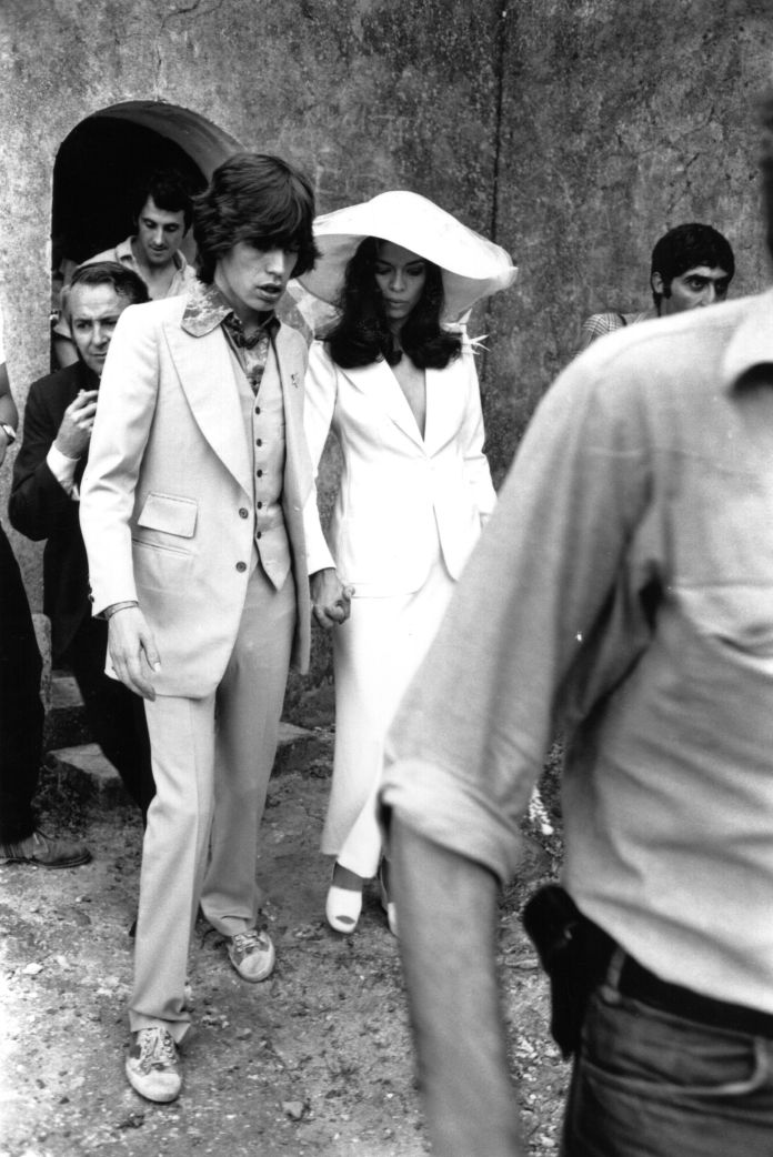 Mick Jagger and his wife Bianca, after their wedding at ST. Tropez