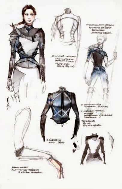 Sketches of the costumes for Jennifer Lawrence
