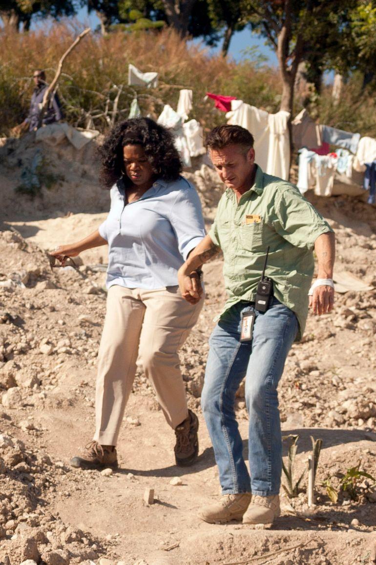 In 2011 with Sean Penn in Haiti.