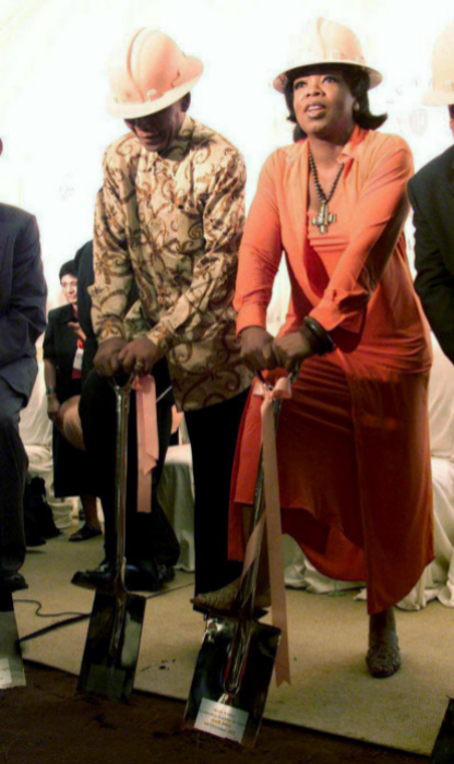 With Nelson Mandela at the opening of the academy in 2002.