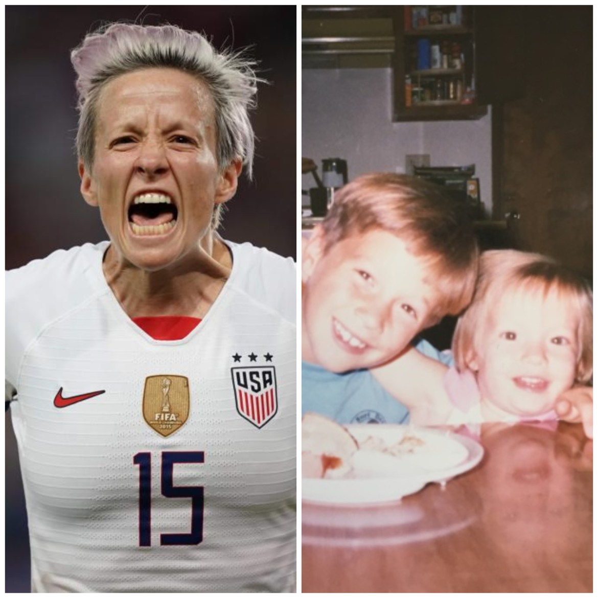On the left Megan Rapinoe celebrating a goal; to the right Megan with ...