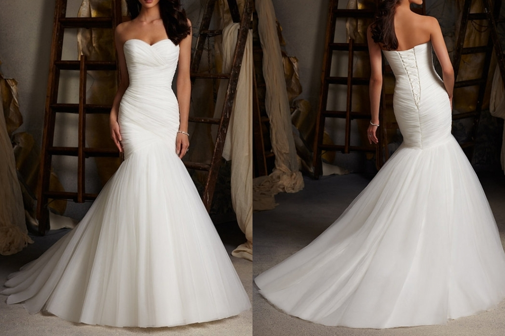 White/Ivory Mermaid Wedding Dresses Organza Bridal Gown