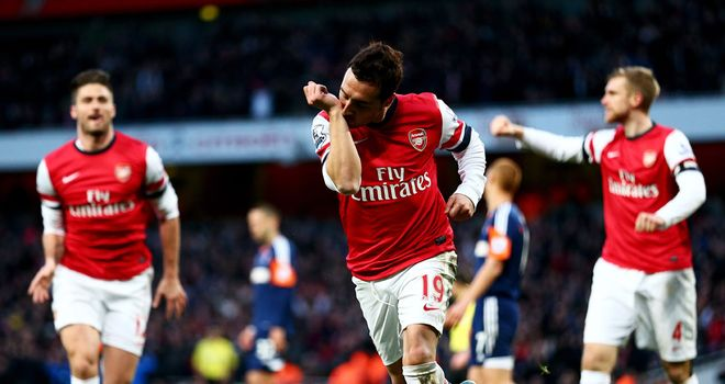 Santi Cazorla: Celebrates his second for Arsenal