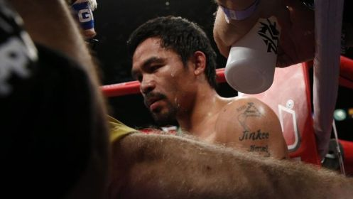Manny Pacquiao in his corner during his fight with Floyd Mayweather.