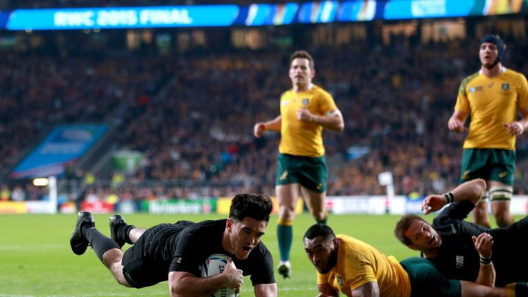 New Zealand's Nehe Milner-Skudder scores in the World Cup final.