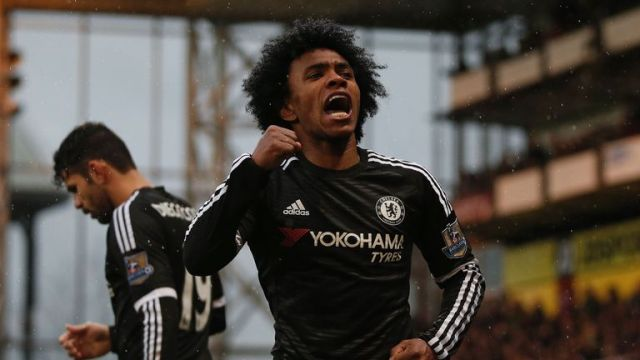 Chelsea midfielder Willian celebrates his stunning goal in the second half