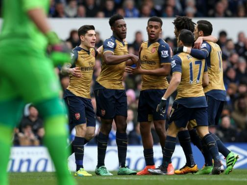Arsenal celebrate Danny Welbeck's opening goal