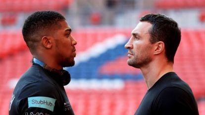 Anthony Joshua and Wladimir Klitschko fight at Wembley Stadium on April 29