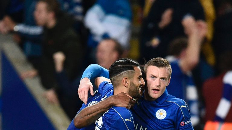 Mahrez congratulates Wes Morgan after his opener against Sevilla