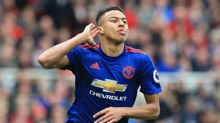 Jesse Lingard celebrates after scoring United's second goal against Middlesbrough