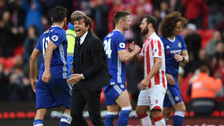 Chelsea manager Antonio Conte enjoys victory at the end of the match