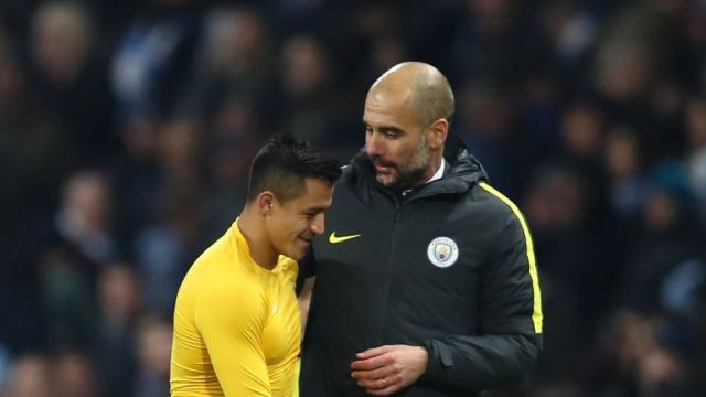 Pep Guardiola (right) said in April he expected a number of clubs to be monitoring Alexis Sanchez's contract situation