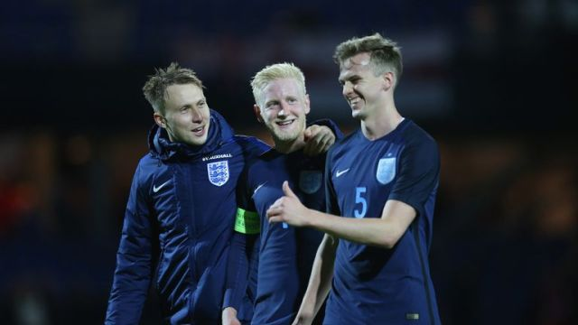 Hughes (centre) is a regular member of the England U21 side