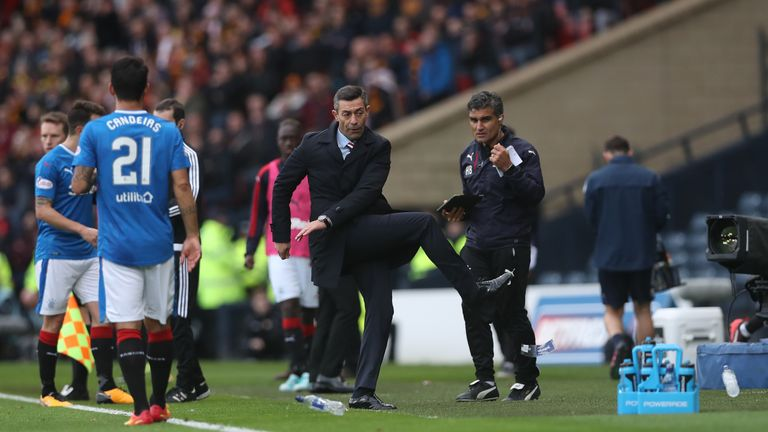 Caixinha cut a frustrated figure in the defeat to Motherwell and was later sent to the stands