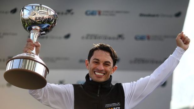 Silvestre de Sousa celebrates being crowned champion Flat jockey