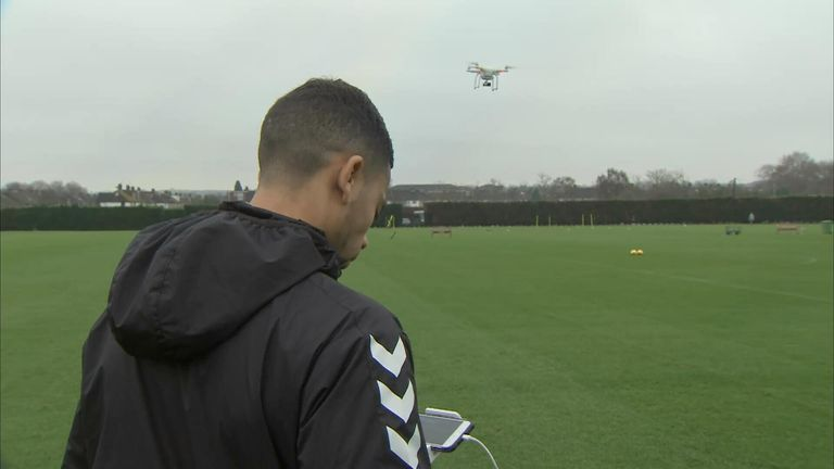 Powderly flies a drone over Charlton's training sessions