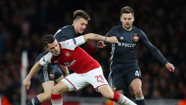 Granit Xhaka battles for the ball at the Emirates