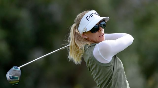 Pernilla Lindberg in action during the final round of the ANA Inspiration