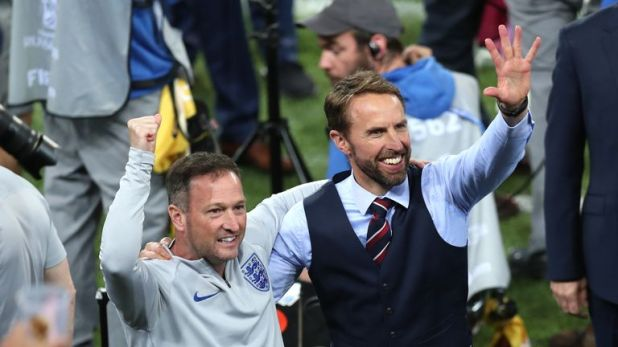 England manager Gareth Southgate and assistant Steve Holland