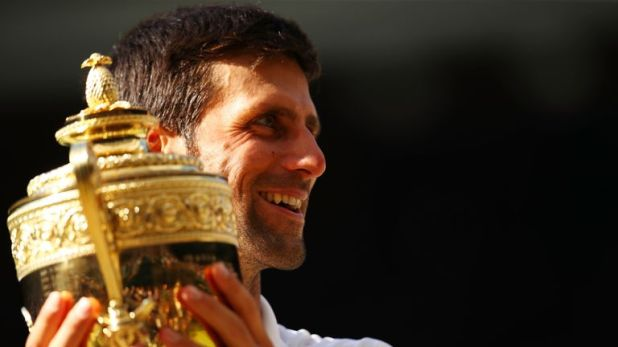 Djokovic's son Stefan was in the box to see him lift his fourth Wimbledon trophy