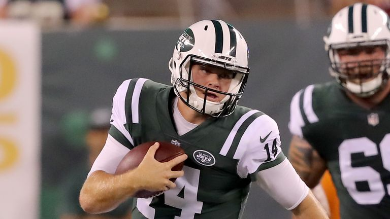 Sam Darnold threw his first NFL pre-season touchdown against the Falcons