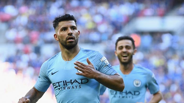 Aguero celebrates scoring his side's second goal at Wembley