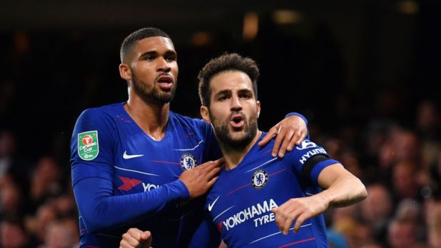 Loftus-Cheek celebrates Cesc Fabregas' winning goal against Derby