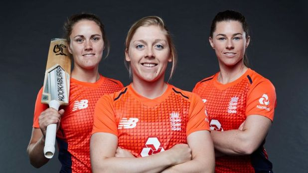 England Captain Heather Knight, flanked by Nat Sciver (left) and Tammy Beaumont (right)