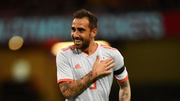 Paco Alcacer celebrates his early goal