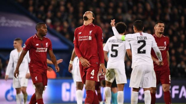 Virgil van Dijk reacts during Liverpool's 2-1 defeat in Paris