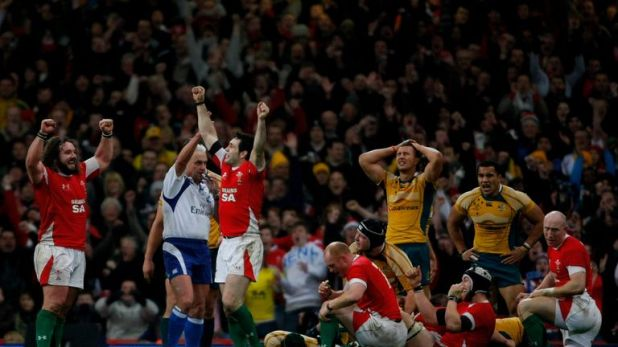 Wales celebrate after beating Australia in November 2008