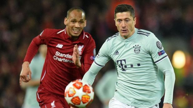 Fabinho (left) kept Robert Lewandowski quiet at Anfield in the first leg