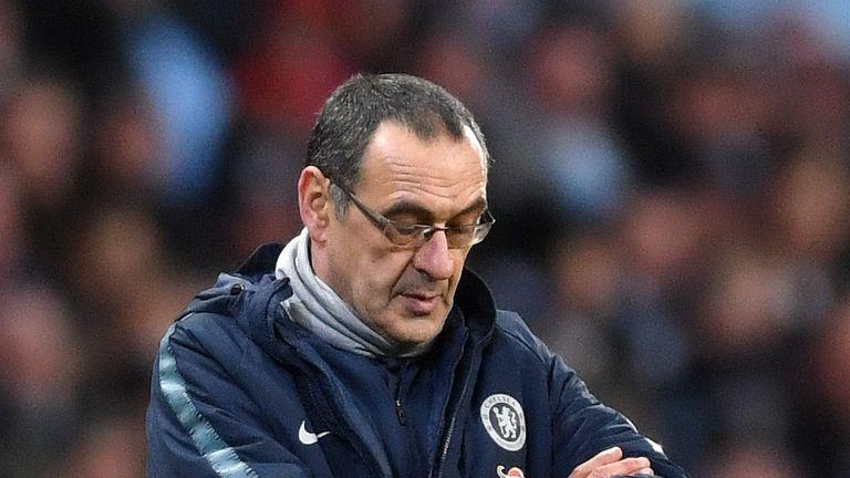 Maurizio Sarri is under increasing pressure as Chelsea head coach