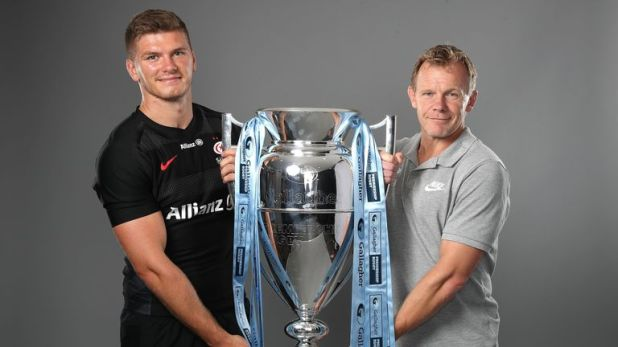 Owen Farrell and Mark McCall at the Gallagher Premiership Rugby 2018-19 season launch