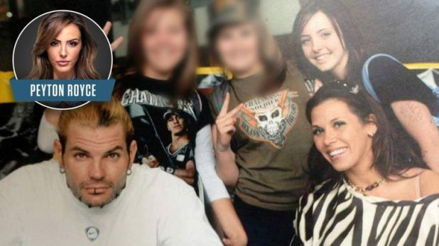 Peyton Royce takes a photo opportunity with Mickie James and Jeff Hardy