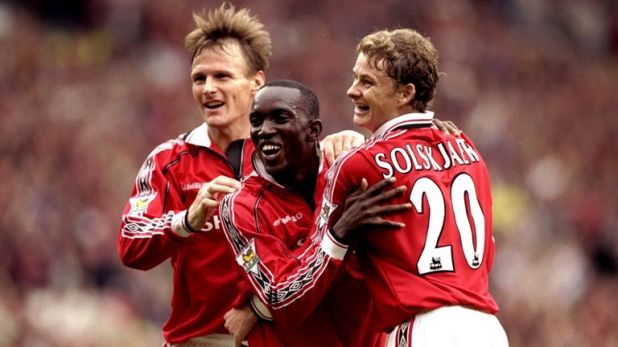 Teddy Sheringham, Dwight Yorke, Ole Gunnar Solskjaer (all pictured) and Andy Cole were United's four attacking options back in 1999