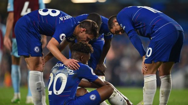 Callum Hudson-Odoi was forced off approaching half-time on Monday night