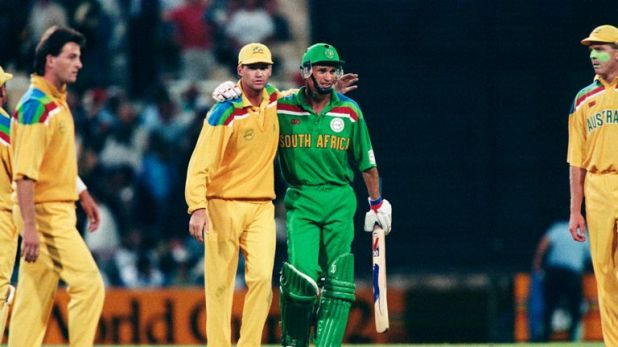 Kepler Wessels, of South Africa, is congratulated by Australia's Dean Jones (left)