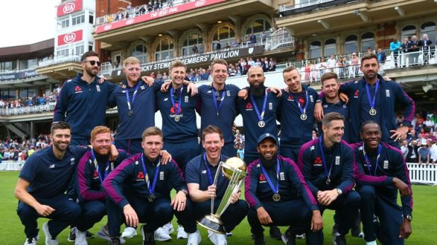 World Cup winners England celebrate their achievement at The Oval