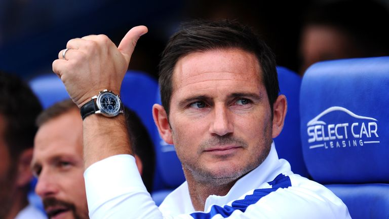 Chelsea manager Frank Lampard gives a thumbs up to the travelling support