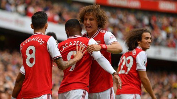 David Luiz congratulates Alexandre Lacazette after the striker gave Arsenal the lead against Burnley