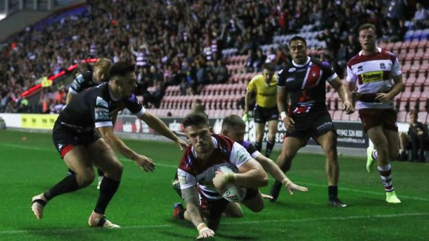 Oliver Gildart got the opening try of the game for Wigan