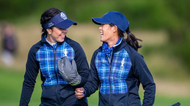 Team Europe's Georgia Hall celebrates with Celine Boutier during the first day of the 2019 Solheim Cup