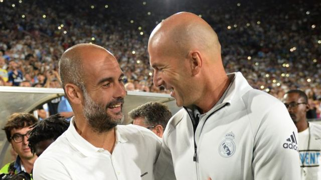 Pep Guardiola and Zinedine Zidane will face off as managers for the first time in a competitive match