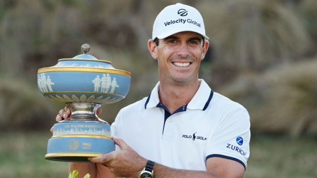 Billy Horschel holds his trophy after winning the WGC-Dell Technologies Match Play